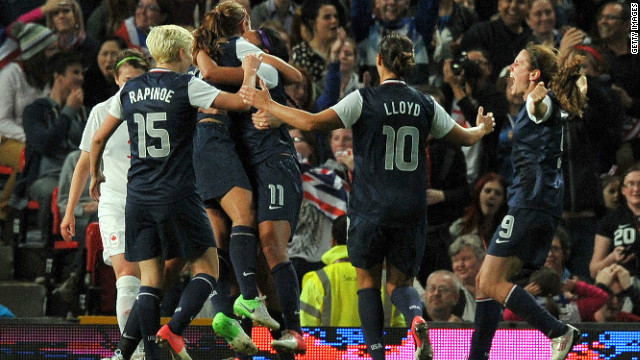 Team USA celebrate reaching a fifth consecutive women's Olympic football final.