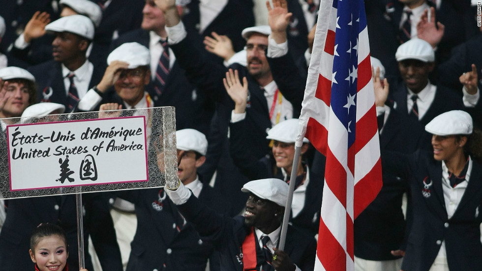 """There's only one flag bearer every four years,"" says Lomong. ""So I was very excited to be part of that and carry America's flag into the opening ceremony."""