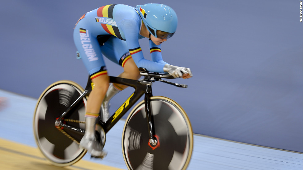 Belgium's Jolien D'Hoore competes in the women's omnium individual pursuit event of the cycling competition.