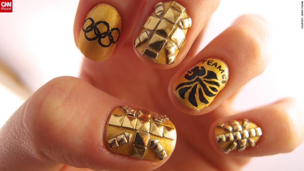 "Jenny Pasha of London created this studded manicure in support of Team GB. ""I have done Union flag nails many times in the past, but for the Olympics, everyone's goal is to go for a gold medal, so I decided to do an all gold set of nails,"" she explained."