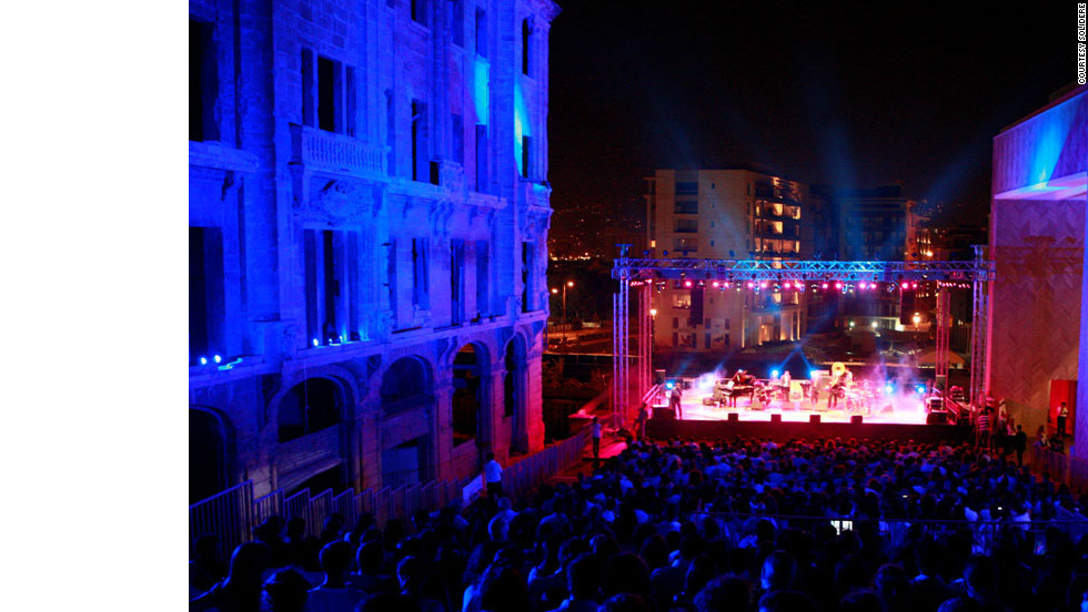 Crowds flock to the Fete de la Musique festival in the rejuvenated Beirut Souks district.