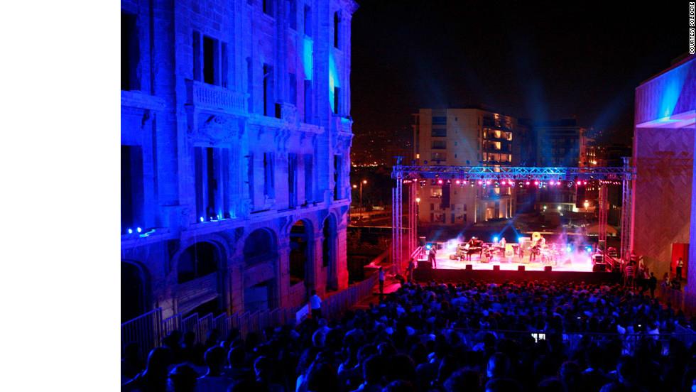 Crowds flock to the Fete de la Musique festival in the rejuvenated Beirut Souks district.