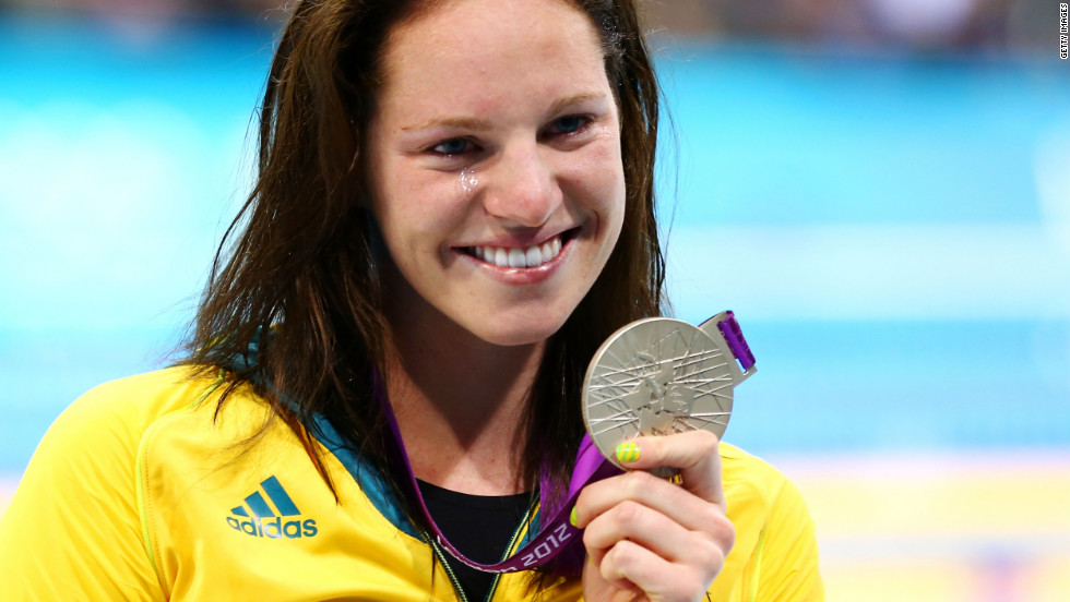 Silver medalist Emily Seebohm poses during the medal ceremony for the Women's 100m Backstroke on July 30.