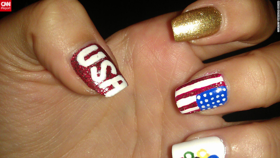 "Gabriela Medina even <a href=""http://ireport.cnn.com/docs/DOC-825971"">painted her toes to match</a>! ""I love supporting and cheering on my team,"" said the Wesley Chapel, Florida, resident. Medina likes to create nail art for various holidays, and says, ""you have to have a steady hand."" Appropriately, the college student aspires to be a surgeon."