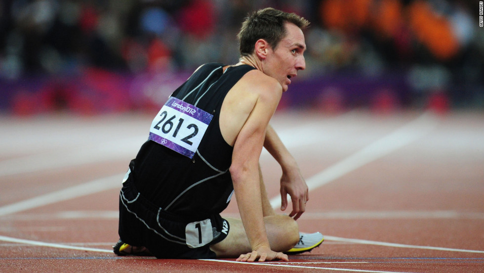 Nicholas Willis of New Zealand reacts after competing in the men's 1500-meter final.