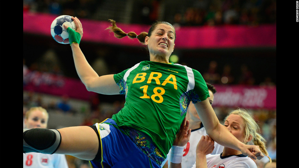 Brazilian left back Eduarda Amorim jumps to shoot during the women's quarter-final handball match against Norway.