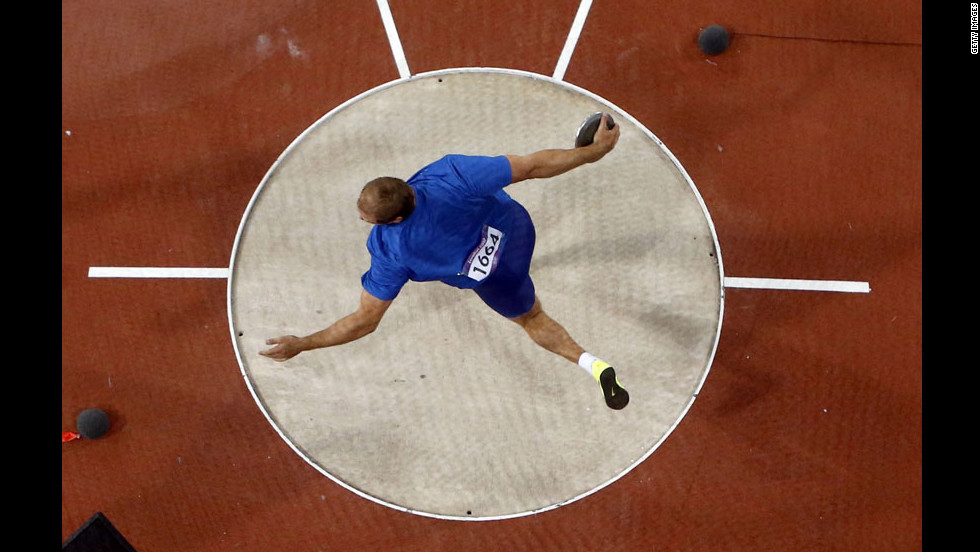 Estonia's Gerd Kanter competes in the men's discus throw final.