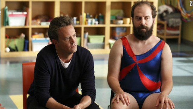 "Matthew Perry, left, stars with Brett Gelman in NBC's new comedy ""Go On"" as a radio personality in a therapy group."