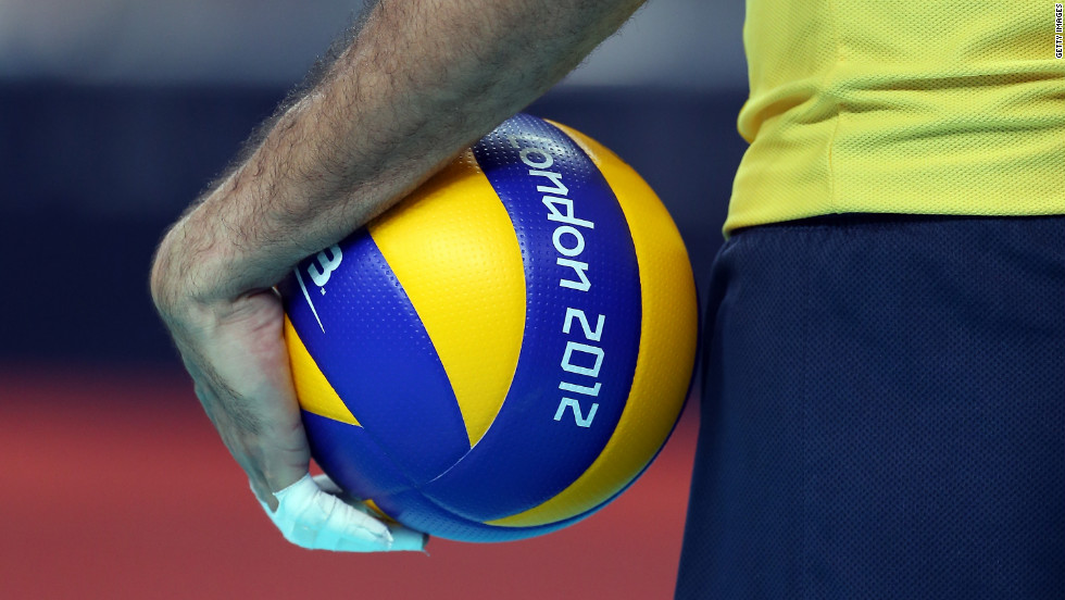 Brazil's Dante Amaral waits to serve the ball against Argentina during the men's volleyball quarterfinals.