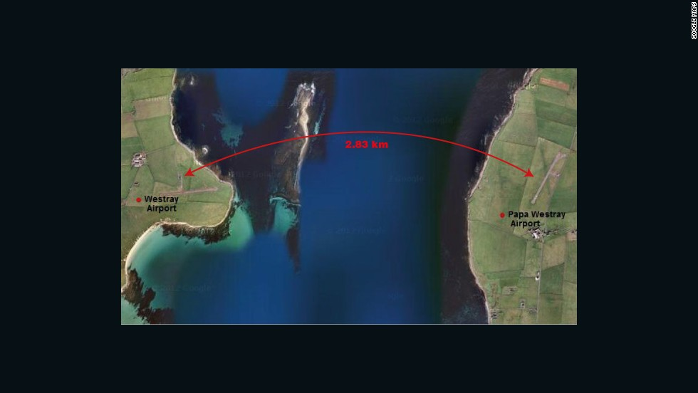 Holding the record for the world's closest airports are the gateways to Papa Westray and Westray, neighboring islands in the Scottish Orkneys. A flight between the two takes an average of 96 seconds (2 minutes if you include taxiing time).