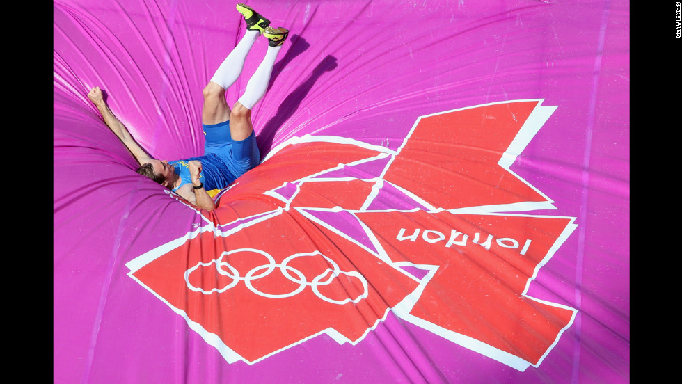 Maksym Mazuryk of Ukraine competes in the men's pole vault qualifications.