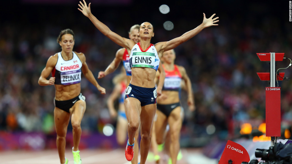 Team GB's golden girl Jessica Ennis crosses the line during the women's heptathlon 800m to win overall gold for the event. She was a strong favorite ahead of the event and didn't disappoint fans.