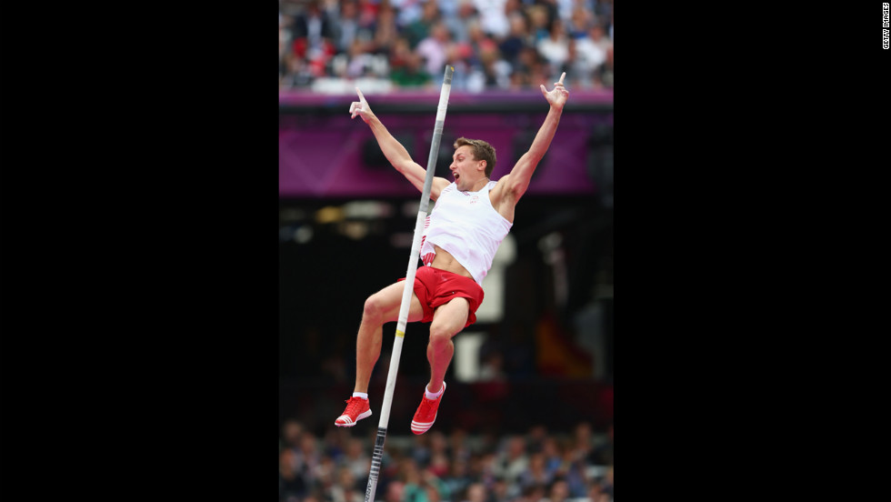 Lukasz Michalski of Poland competes in the men's pole vault qualifications.