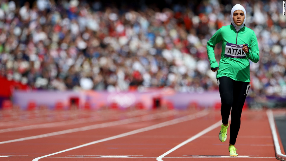 Despite finishing last in her 800m heat, Sarah Attar of Saudi Arabia received a standing ovation as she crossed the finish line. She is the first Saudi Arabian woman to compete in an Olympic track and field event.