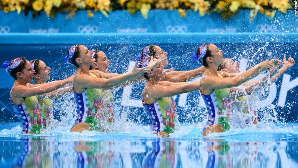 Australian swimmers perform in the team technical routine during the synchronized swimming competition.