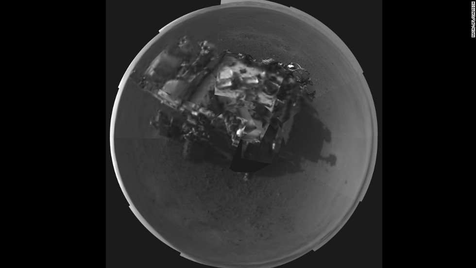 NASA's Curiosity rover took this self-portrait using a camera on its newly deployed mast.