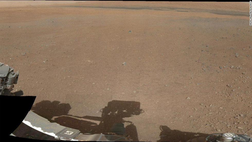 A partial view of a 360-degree color panorama of the Curiosity rover's landing site on Gale Crater. The panorama comes from low-resolution versions of images taken August 9, 2012, with a 34-millimeter mast camera. Cameras mounted on Curiosity's remote sensing mast have beamed back fresh images of the site.