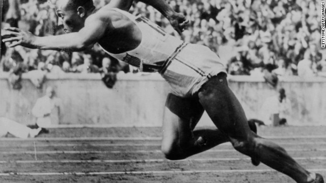American sprinter Jesse Owens (1913 - 1980) at the 1936 Berlin Olympics, who won 4 gold medals for running and field events in the 1936 Berlin Olympics. (Photo by Keystone/Getty Images)