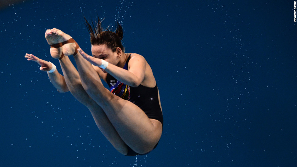 Malaysia's Pamg Pandelela Rinong competes in the women's 10-meter platform diving final.