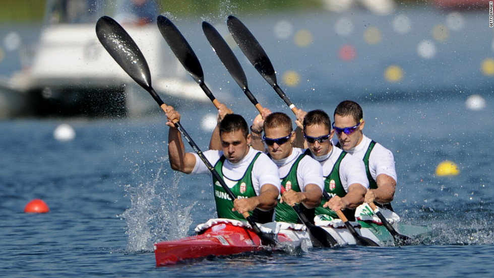 Hungary's Zoltan Kammerer, Tamas Kulifai, David Toth and Daniel Pauman compete during the men's kayak four 1,000-meter canoe sprint at Eton Dorney in Windsor, England. The Hungarian crew went on to win the silver.