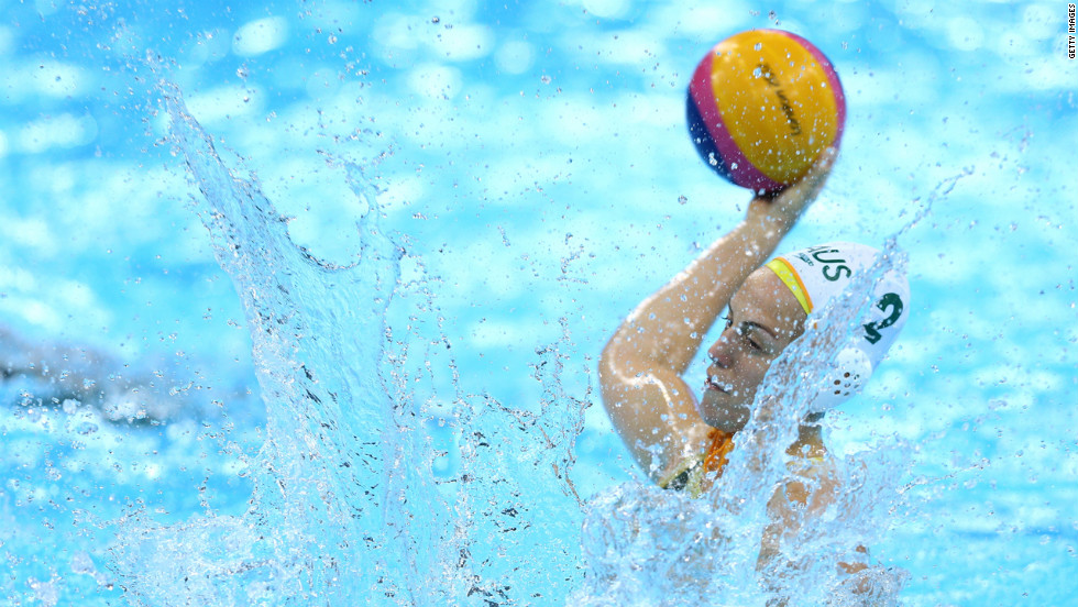 Gemma Beadsworth, No. 2 of Australia, scores the first goal in extra time during the women's water polo bronze medal match between Australia and Hungary.