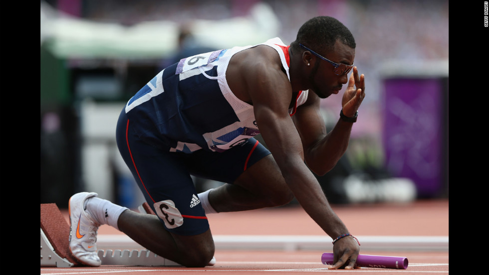 Nigel Levine of Great Britain prepares for the start of the men's 4 x 400-meter relay round 1 heat.