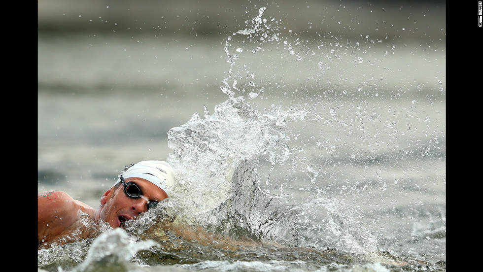 Spain's Francisco Hervas Jodar competes during the men's marathon 10-kilometer swim.