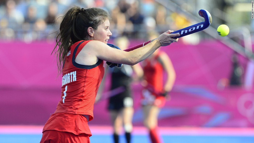 Britain's Laura Unsworth controls the ball during the women's field hockey bronze medal match against New Zealand.