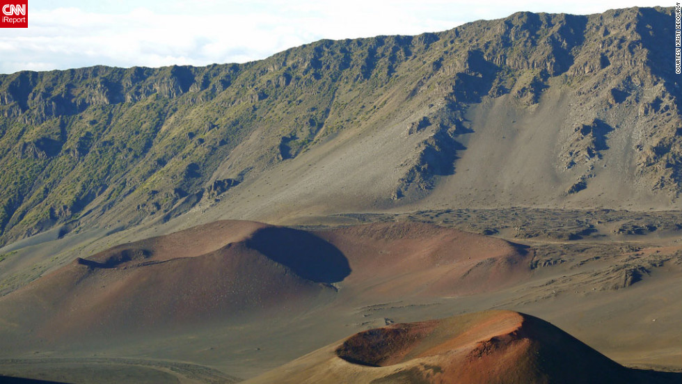 "<a href=""http://ireport.cnn.com/docs/DOC-825914"">Kristi DeCourcy</a> says the colors in the cinder cones of the Haleakala volcano remind her of images from Mars. She stood on the Kalahaku Overlook at Haleakala National Park in Maui to capture this image."
