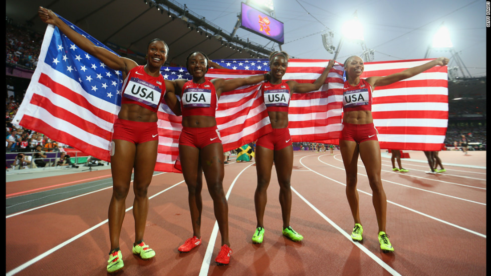 The U.S. women's 4x100-meter relay team -- from left, Carmelita Jeter, Bianca Knight, Tianna Madison and Allyson Felix -- set a new world record in the final.