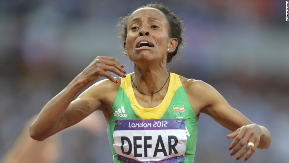 Ethiopia's Meseret Defar reacts after winning the women's 5000-meter final.