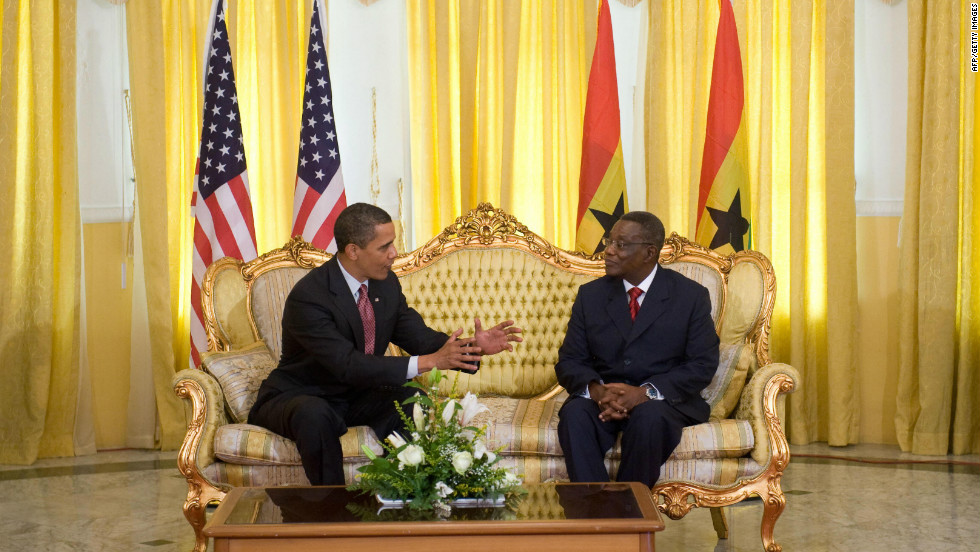 U.S. president Barack Obama visited Ghana in July 2009, where he met president Mills and addressed the West African country's parliament. This was Obama's first presidential visit to sub-Saharan Africa. At the time, he bypassed his father's native Kenya and visited Ghana, which is hailed as a beacon of peace and democracy in a volatile region.