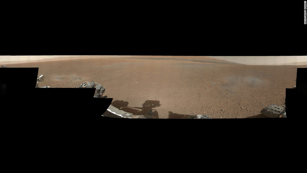 A color image from NASA's Curiosity rover shows the pebble-covered surface of Mars. This panorama mosaic was made of 130 images of 144 by 144 pixels each. Selected full frames from this panorama, which are 1,200 by 1,200 pixels each, are expected to be transmitted to Earth later.
