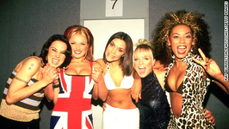 Spice Girls photographed backstage at the Brit Awards in February 1997