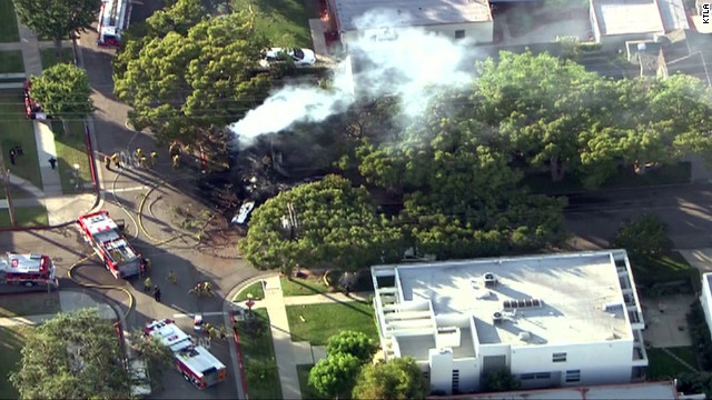 The aircraft appeared to have hit at least one tree, but not any buildings directly.