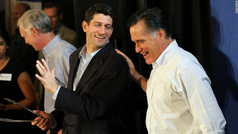 Romney jokes with Ryan in April 2012 during a pancake brunch at Bluemound Gardens in Milwaukee.