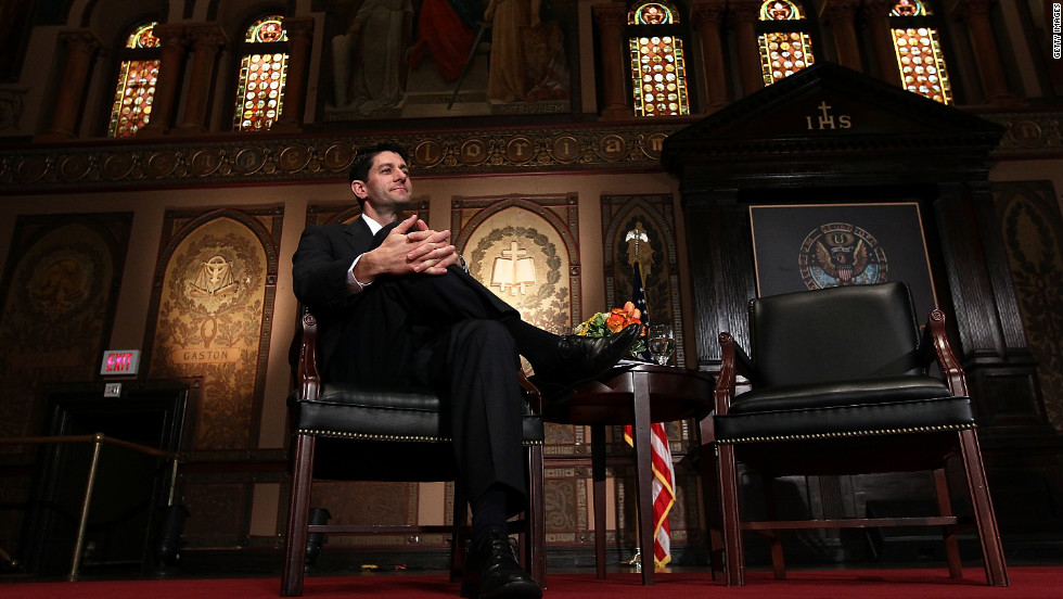 Ryan is introduced before speaking about the federal budget at Georgetown University on April 26, 2012.