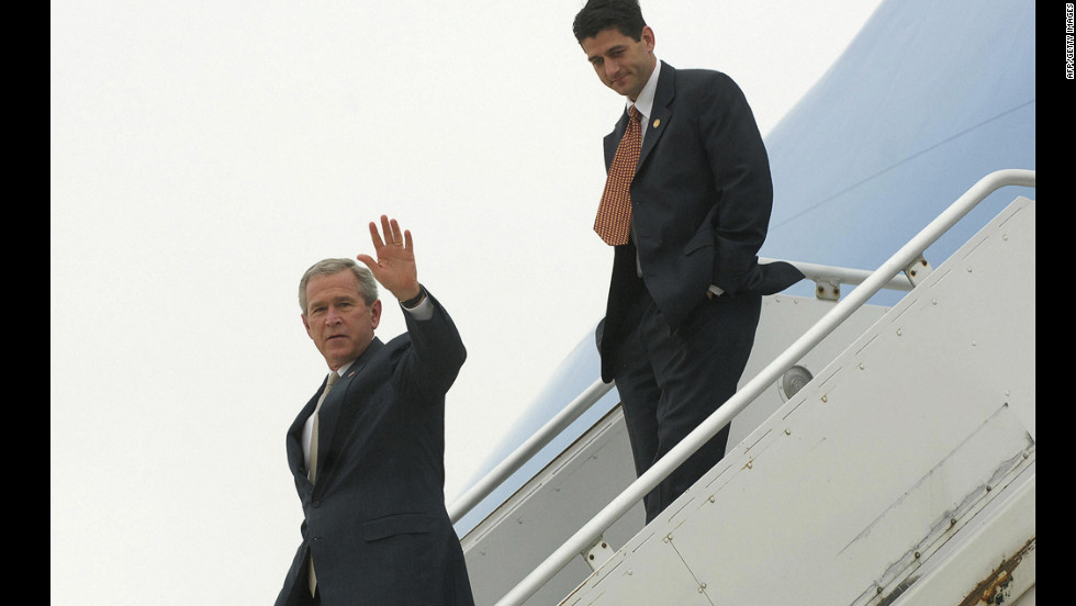 Ryan follows President George W. Bush off of Air Force One at General Mitchell International Airport - Air Reserve Station in Milwaukee on July 11, 2006.