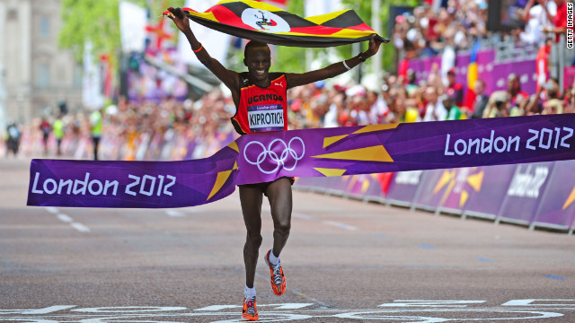 Stephen Kiprotich of Uganda celebrates as he wins the men's marathon on Sunday.