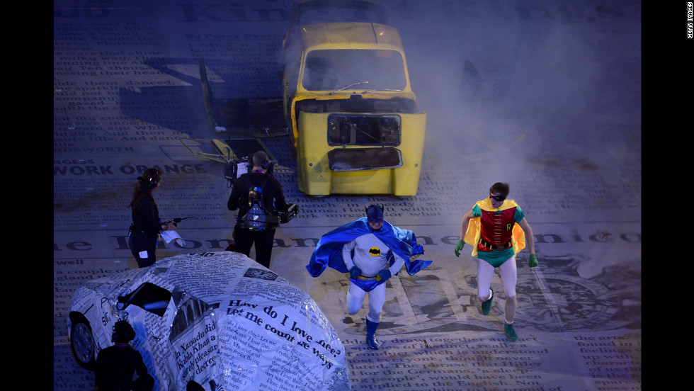 "Actors dressed as Batman and Robin perform a segment from an episode of the British television comedy, ""Only Fools and Horses."""