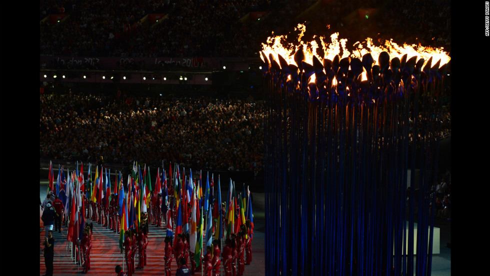 The Olympic cauldron burns during the closing ceremony.