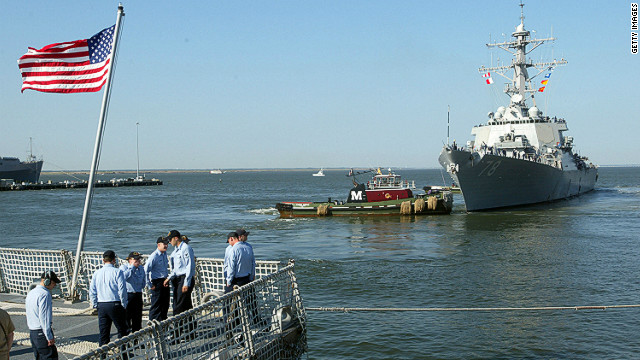 The U.S. Navy said its guided missile destroyer USS Porter, seen here in a 2003 file photo, collided with an oil tanker.