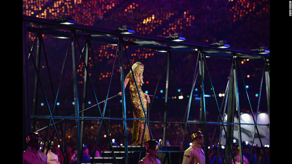 Model Kate Moss performs during the British fashion portion of the closing ceremony.