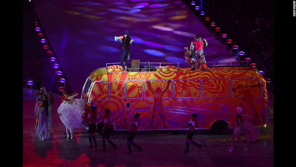 Russell Brand performs during the closing ceremony.
