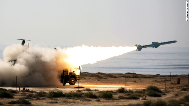 An Iranian ground-to-sea missile is launched in January during navy war games near the Strait of Hormuz in southern Iran.