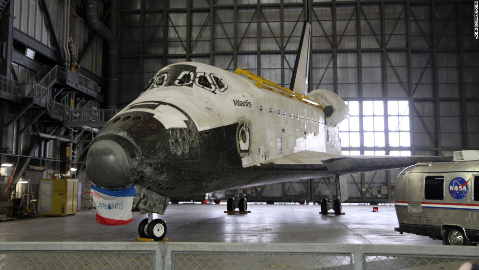 The space shuttle Atlantis is on view in the Vehicle Assembly Building until August 16, when it will start getting prepared for its new home opening later this year in the space center's visitor complex.