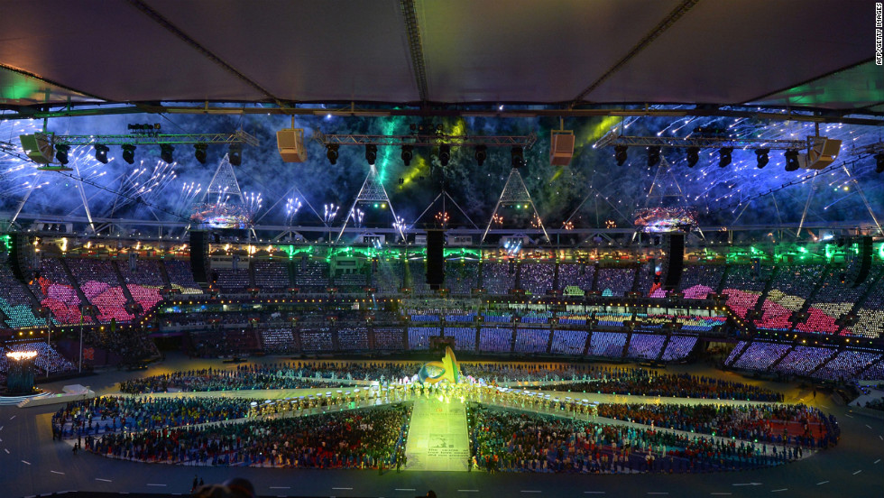 A general view shows  the Olympic stadium during the closing ceremony.