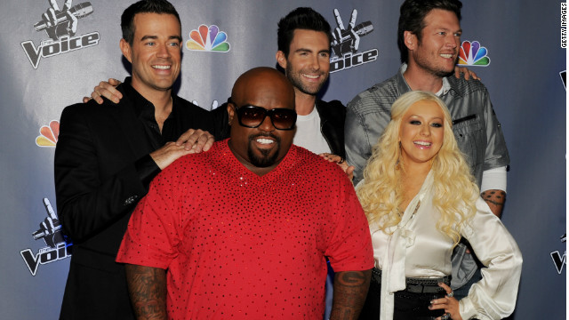 """The Voice"" host Carson Daly, and coaches Cee Lo Green, Adam Levine, Christina Aguilera and Blake Shelton in 2011."