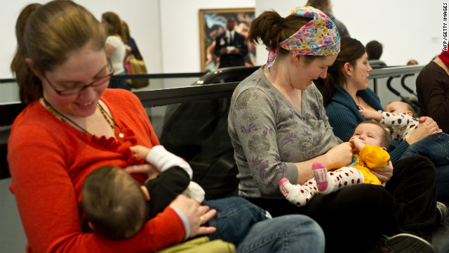 Protesting mothers breastfeed at the Hirshhorn Museum in Washington after a woman was stopped from nursing there