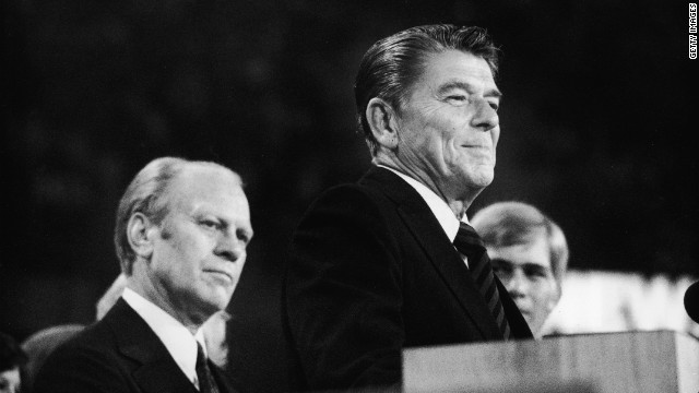 After losing the nomination to Gerald Ford, left, Ronald Reagan delivered an impromptu speech at the 1976 GOP convention.